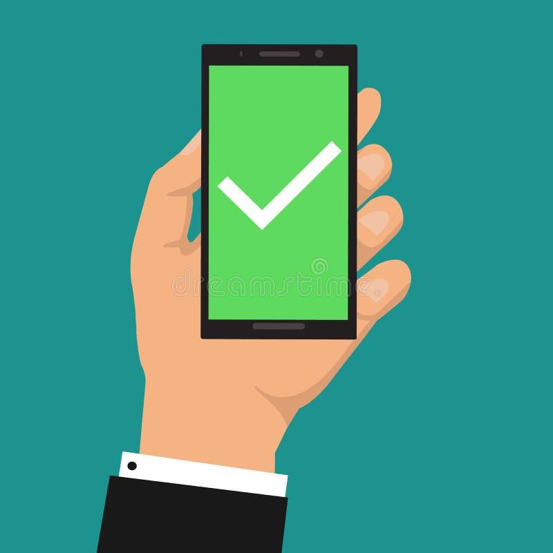 在智能手机屏幕上的绿色检查号 背景银行现有量藏品注意smartphone 有白色壁虱的手机 球尺寸三 我们的现代设计 库存例证
