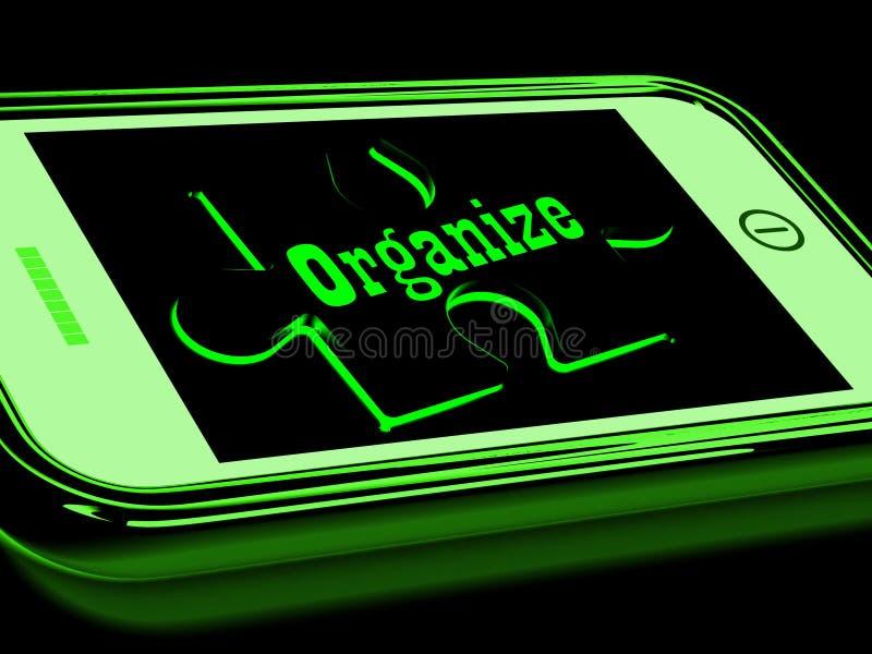 组织在智能手机展示联络组织 向量例证
