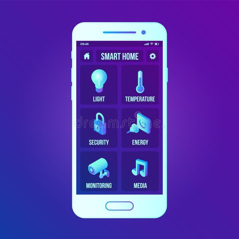 在智能手机应用程序屏幕上的聪明的家庭技术接口 在智能手机的遥远的家庭控制系统 聪明的家用户界面  向量例证