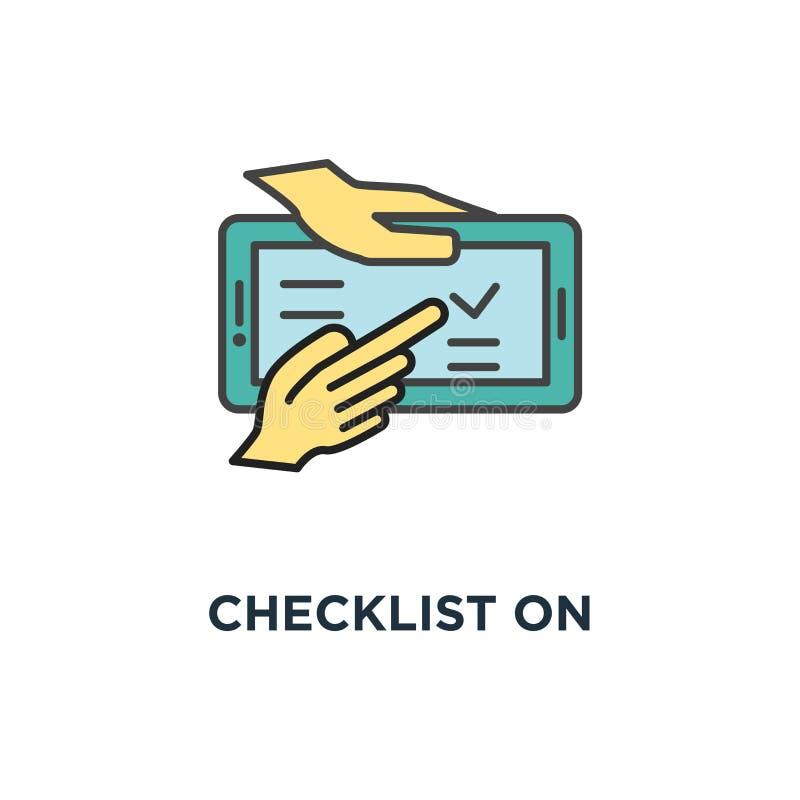 在智能手机显示象的清单 与校验标志,购买概念标志设计,任务名单的复选框,做,愿望 库存例证