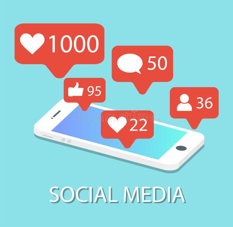 在智能手机的人脉象 通知 束起通信有概念的交谈媒体人社交 皇族释放例证