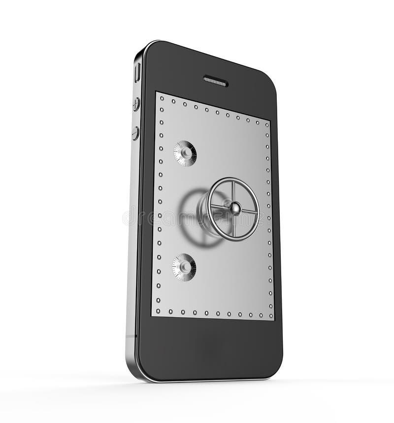 在智能手机的保险柜 库存例证