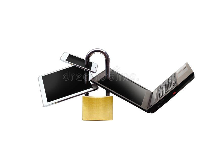 在智能手机的安全措施 库存图片
