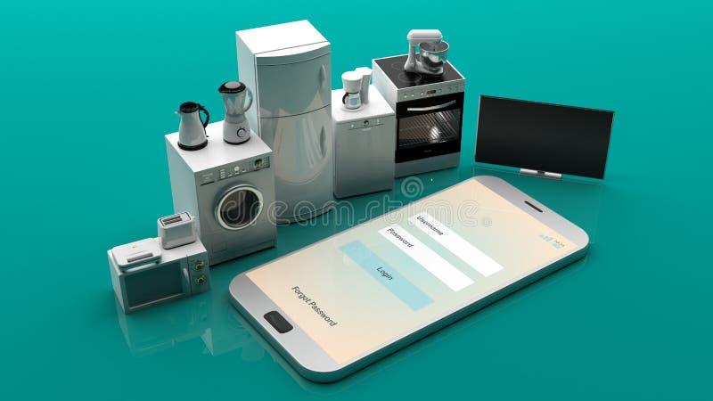 在智能手机的家电 3d例证 库存例证