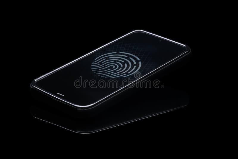 在智能手机的指纹证明 免版税图库摄影