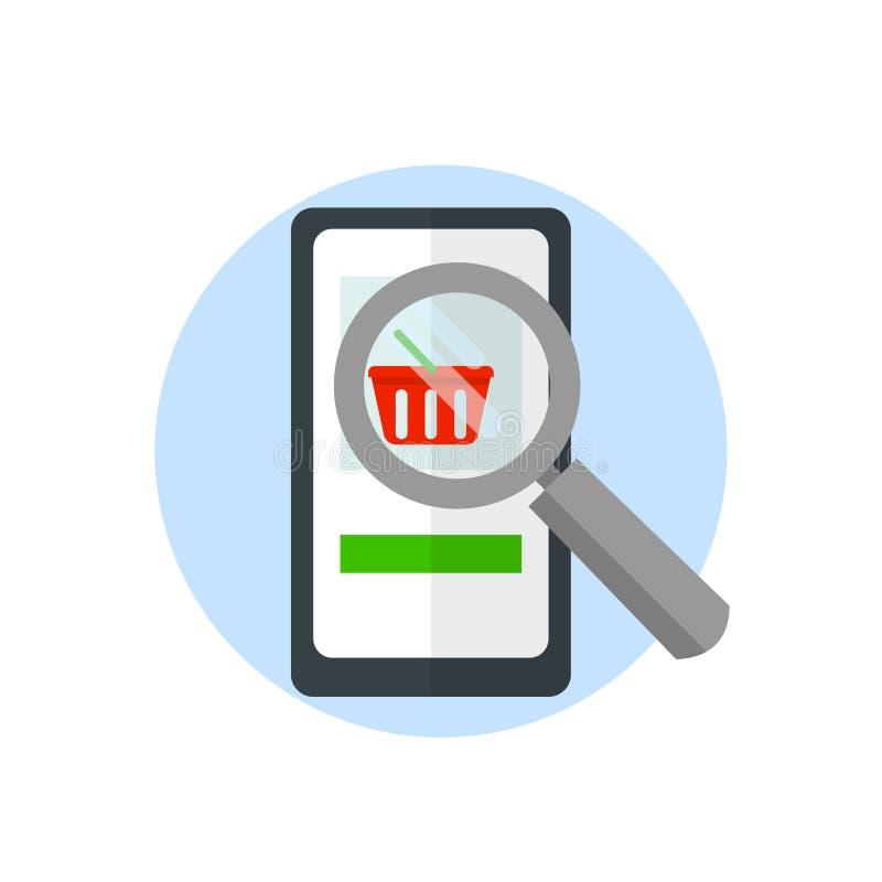 在智能手机的放大器,查寻在互联网上的物品,网上营销隔绝在白色背景 向量 库存例证