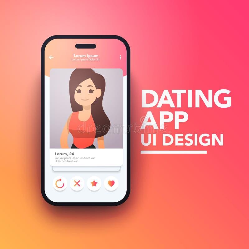 在智能手机的时髦流动约会的应用程序概念传染媒介大模型 库存例证