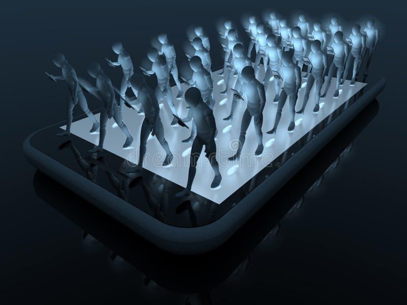 在智能手机的智能手机步行 免版税库存图片