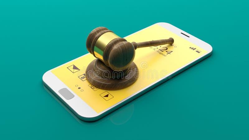 在智能手机的法官惊堂木 3d例证 皇族释放例证