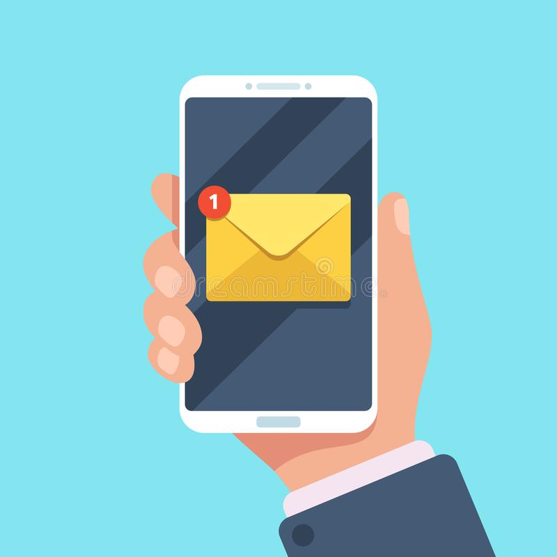 在智能手机的电子邮件通知在手中 在inbox,邮寄的信件或读sms的新的邮件消息在手机 向量例证