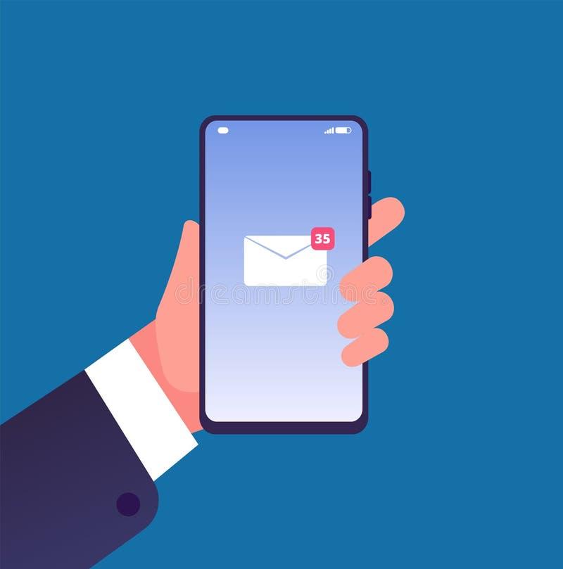 在智能手机的电子邮件通知 有手机新的邮件消息的手在屏幕,inbox sms上 网上通信 向量例证