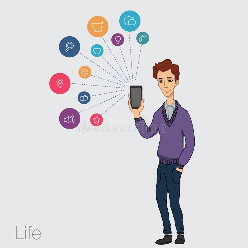 Download 在智能手机的联机服务-娱乐和事务通过云彩技术 库存例证. 插画 包括有 电子邮件, 球员, 图象, 通信 - 62537546