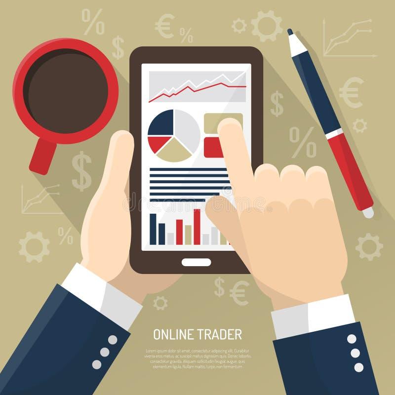 Download 在智能手机的股市 向量例证. 插画 包括有 平面, 市场, 投资, 计算机, 格式, 价格, 利润, 咖啡 - 72356627