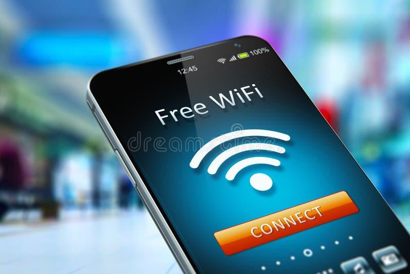 在智能手机的自由WiFi网络在商城 库存例证