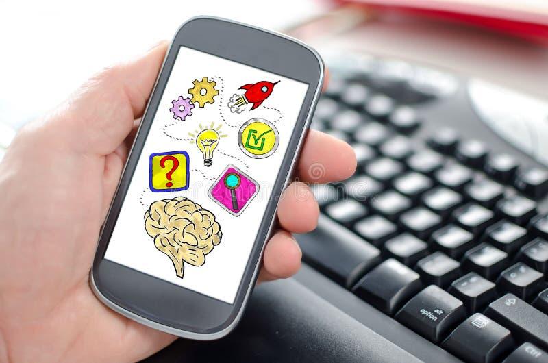 在智能手机的解决问题概念 免版税库存图片