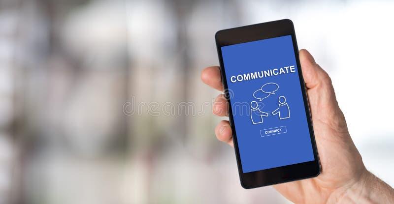 在智能手机的通信概念 免版税库存照片
