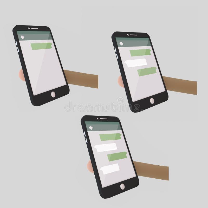 在智能手机的闲谈应用 阿帕卢萨马 3d例证 向量例证