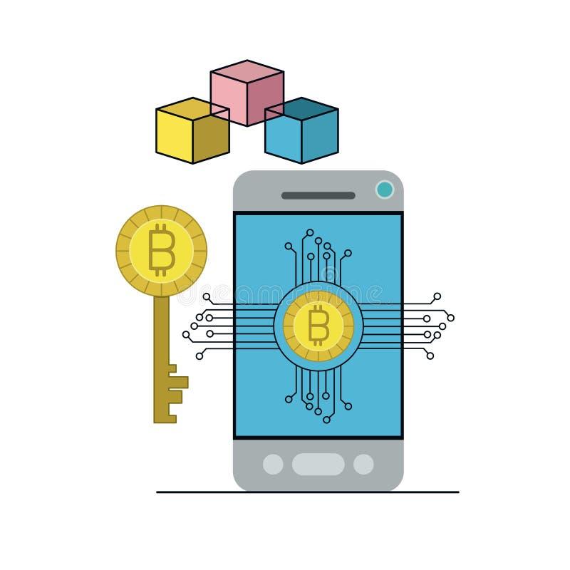 在智能手机的Bitcoin数字式货币钥匙网络 向量例证