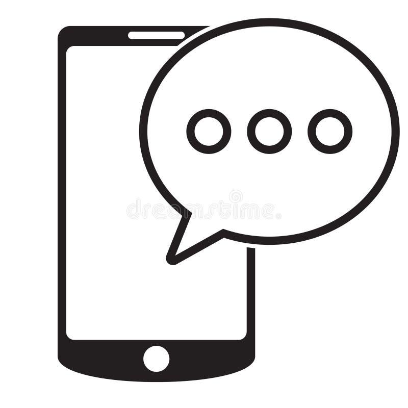 在智能手机象的SMS消息 SMS在白色背景在平的样式的消息象隔绝的 在电话的Sms标志 库存例证