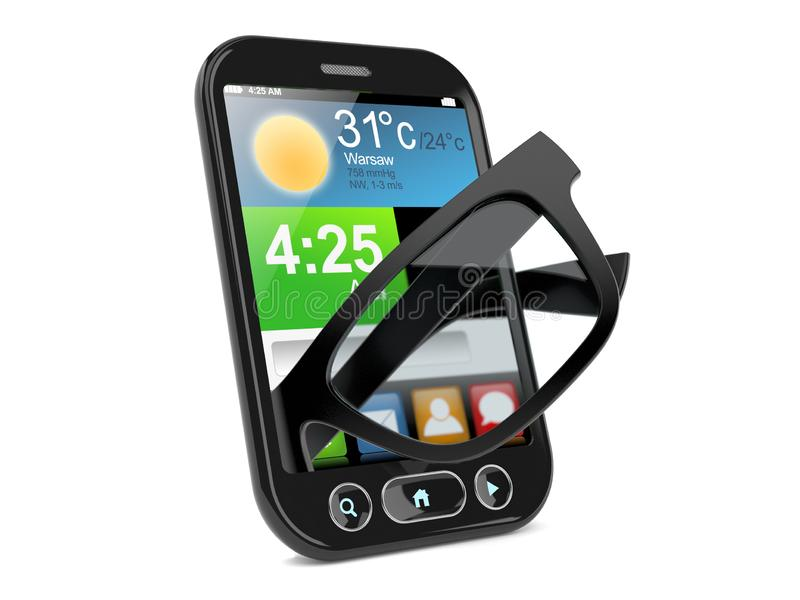 在智能手机里面的玻璃 库存例证