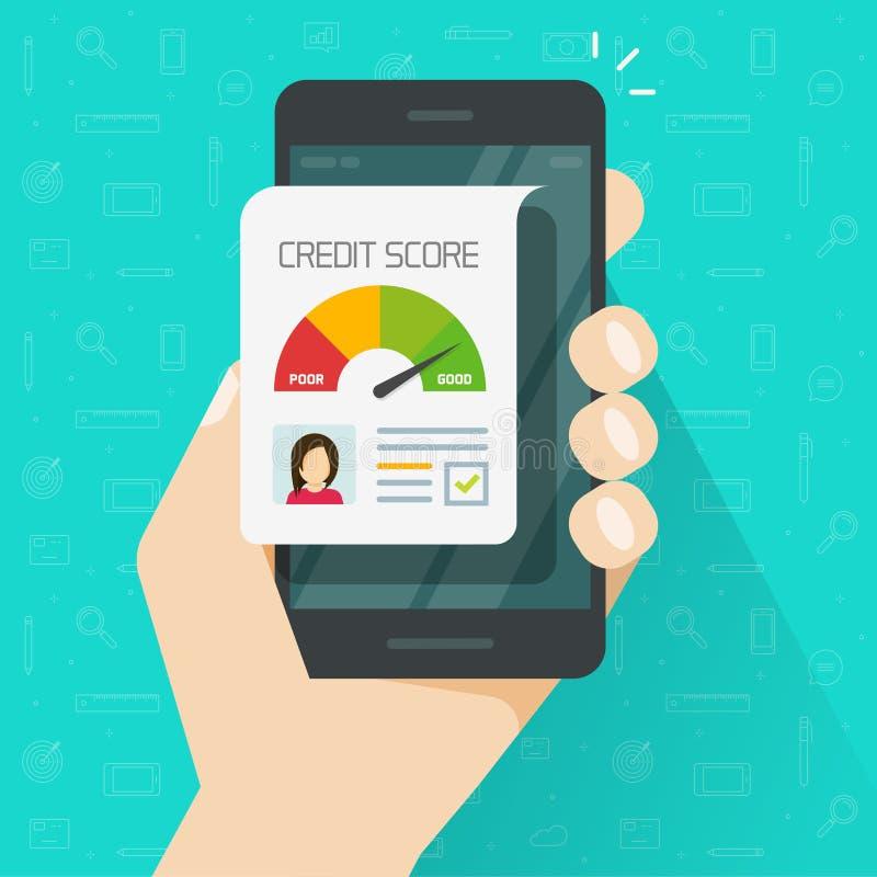在智能手机,平的在手机的动画片数字好历史等级贷款记录的信用评分网上报告文件 向量例证