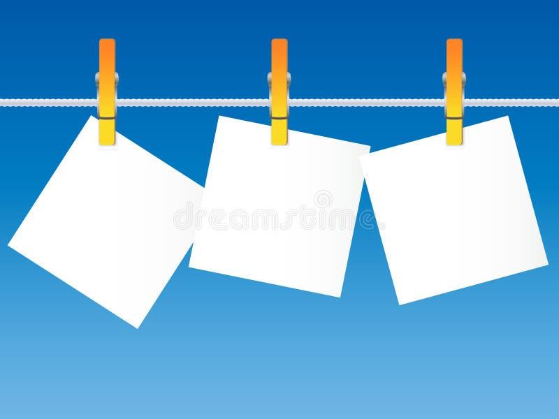 在晾衣绳的白纸 向量例证