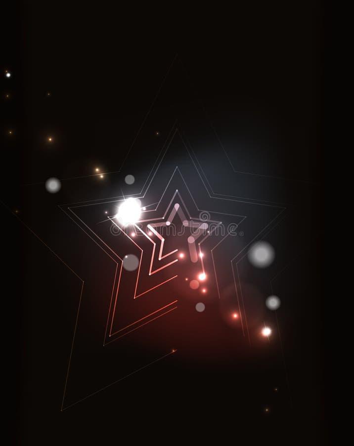 在暗区的发光的星 库存例证