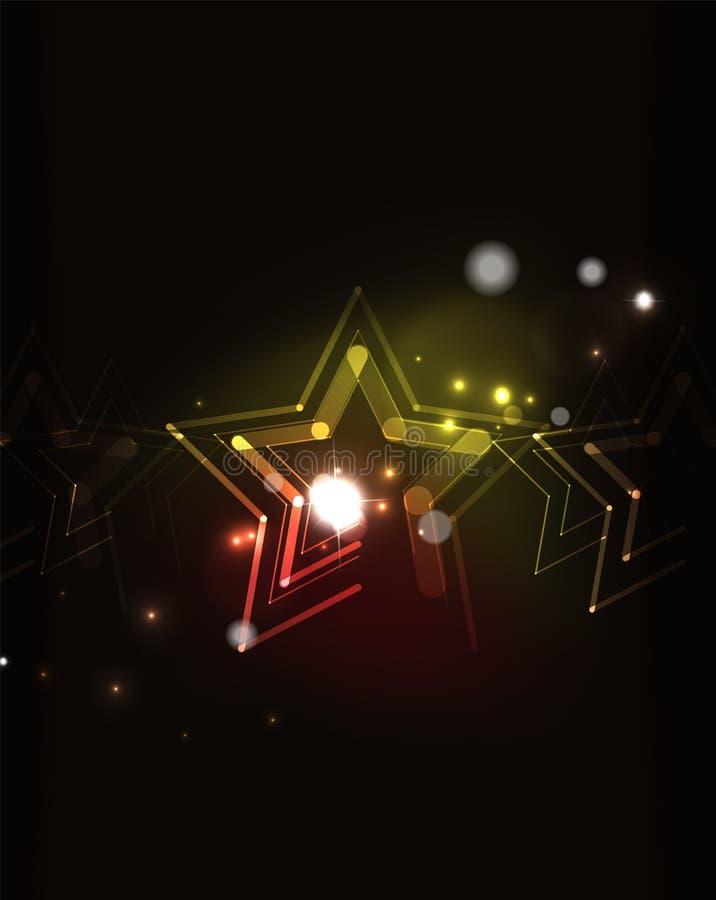 在暗区的发光的星 向量例证