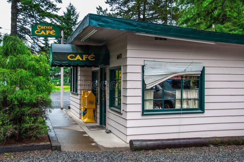 在暮色英雄传奇以为特色的电影咖啡馆 免版税图库摄影