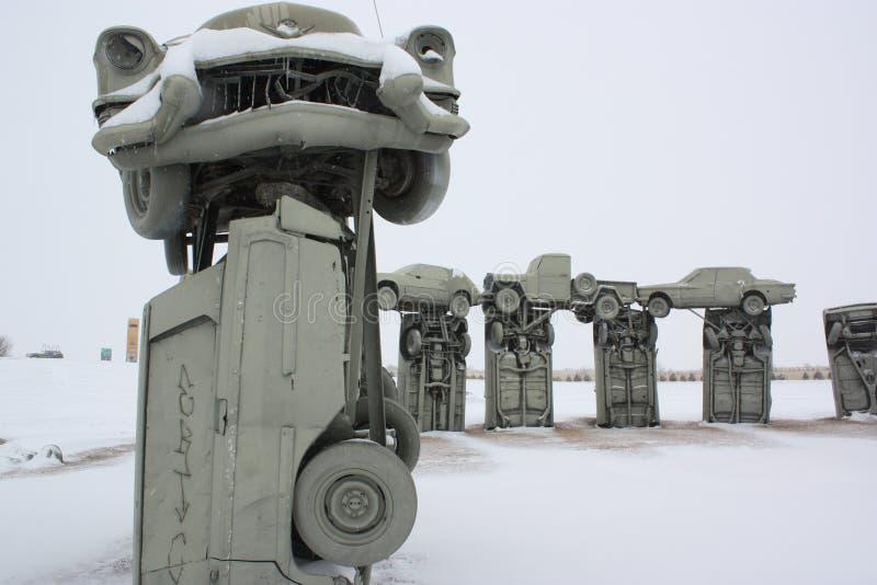 在暴风雪之后的Carhenge 库存图片