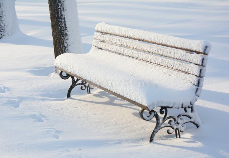 在暴风雪以后的公园长木凳 图库摄影