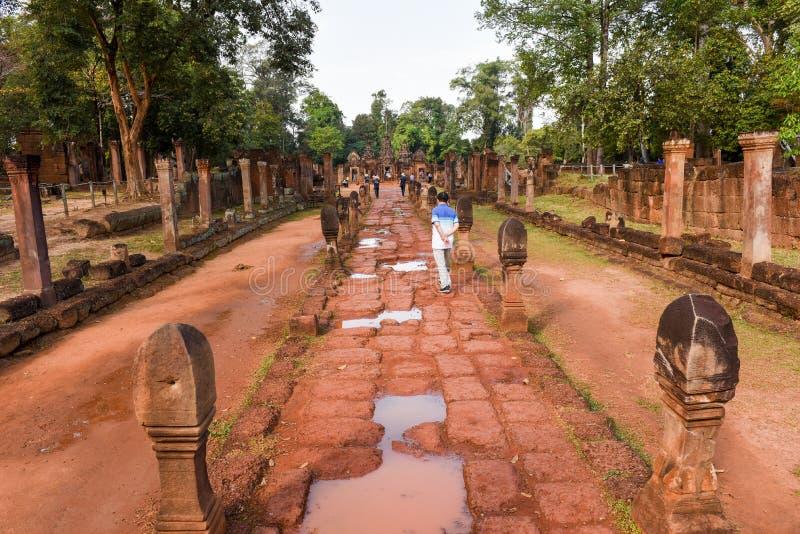 在暹粒的Banteay Srei寺庙在柬埔寨 免版税图库摄影