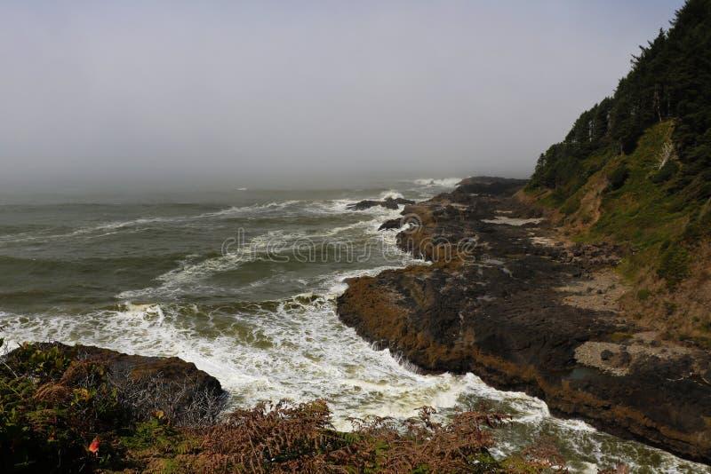 在曲拱海角,俄勒冈海岸海滩的有薄雾和有雾的早晨  免版税库存图片