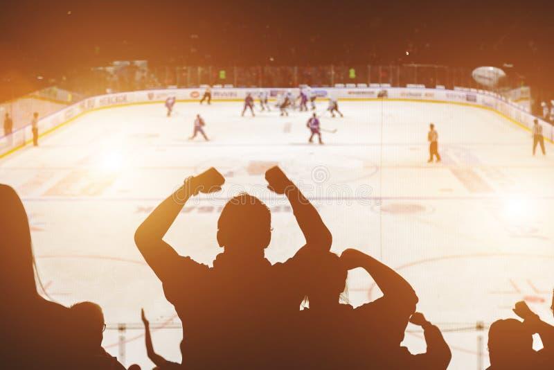 在曲棍球比赛的爱好者 免版税图库摄影