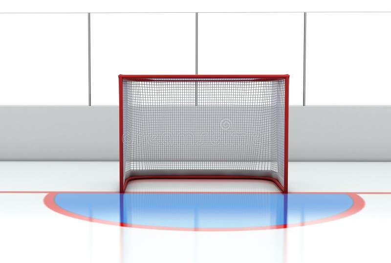 在曲棍球溜冰场的曲棍球门 皇族释放例证