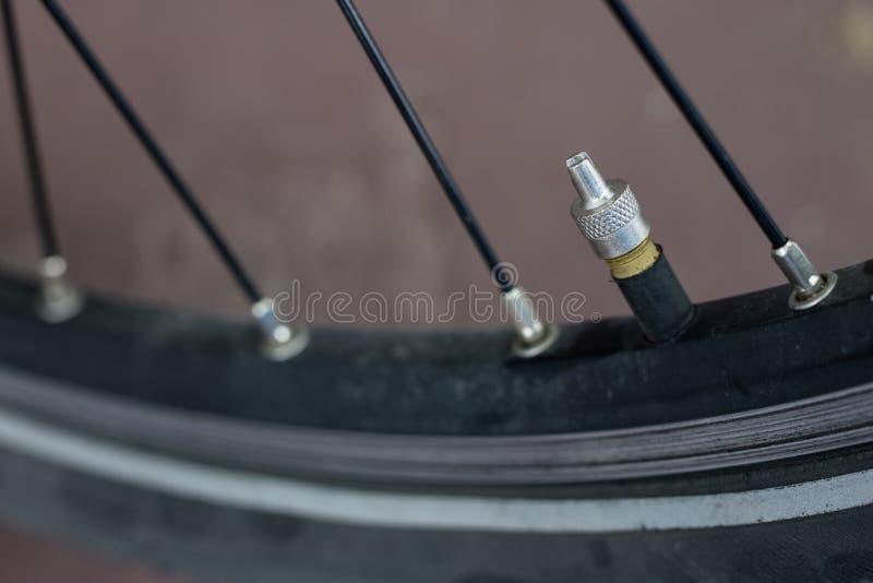 在更加大号的自行车辅助部件 游人和tr的自行车 库存照片