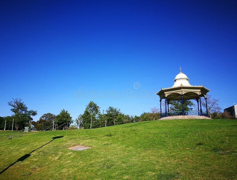在更旧的公园,阿德莱德,南澳大利亚的美丽的绿草小山 库存照片