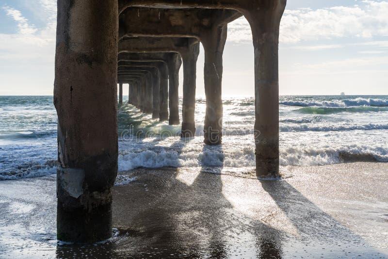 在曼哈顿比奇码头下的黄昏太阳沿太平洋海岸线在南加州 库存图片