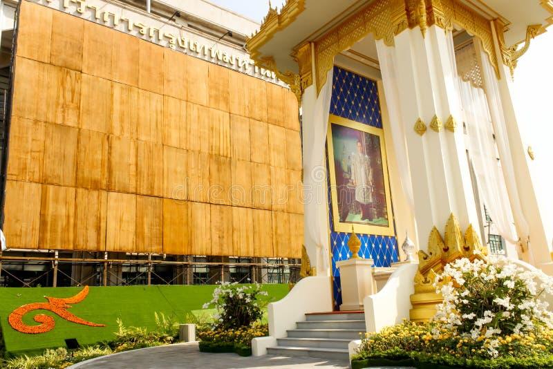 在曼谷城市居民管理的皇家火葬场复制品 库存图片