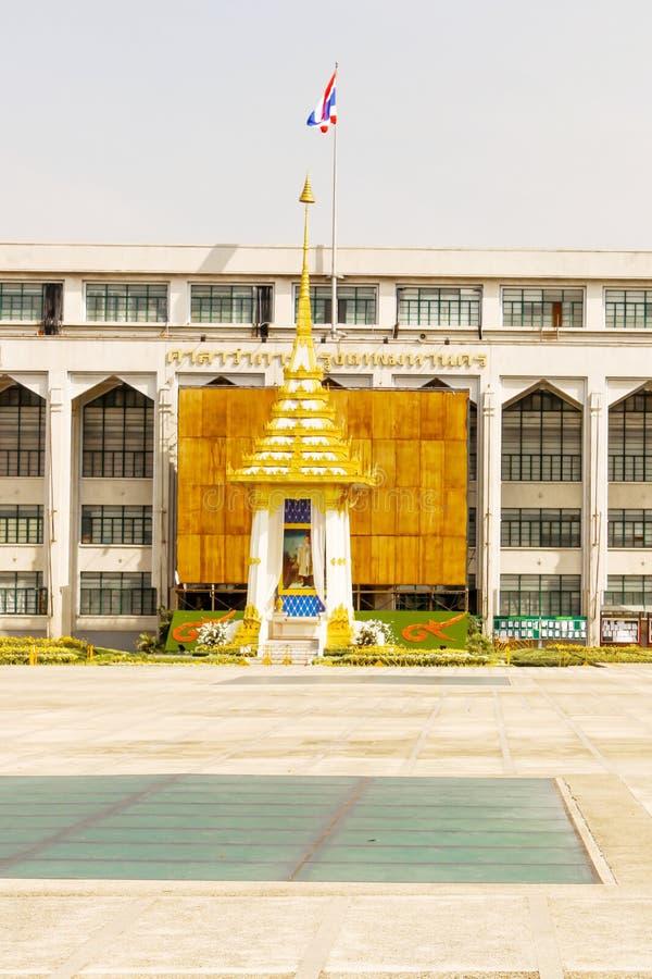 在曼谷大城市管理总部的皇家火葬场复制品在泰国 库存照片