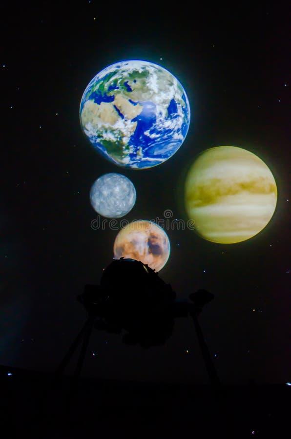 在曼谷天文馆的美丽的行星地球 免版税库存照片