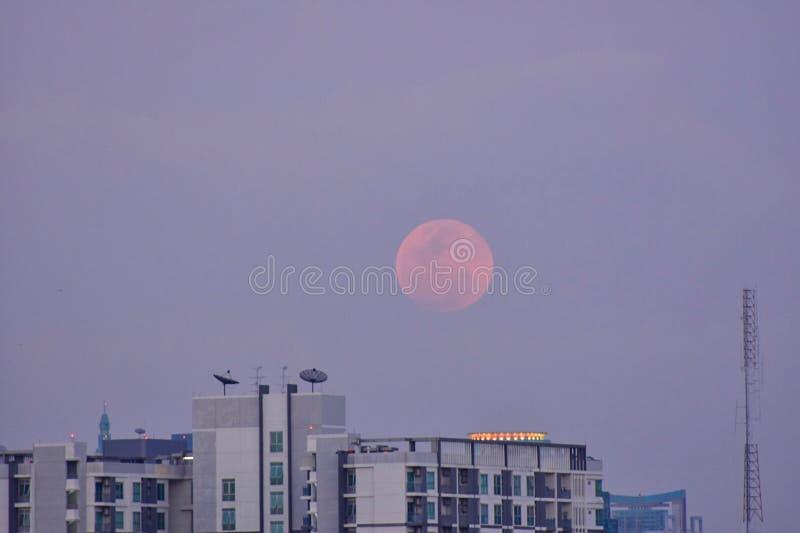 在曼谷市的晚饭月亮 图库摄影
