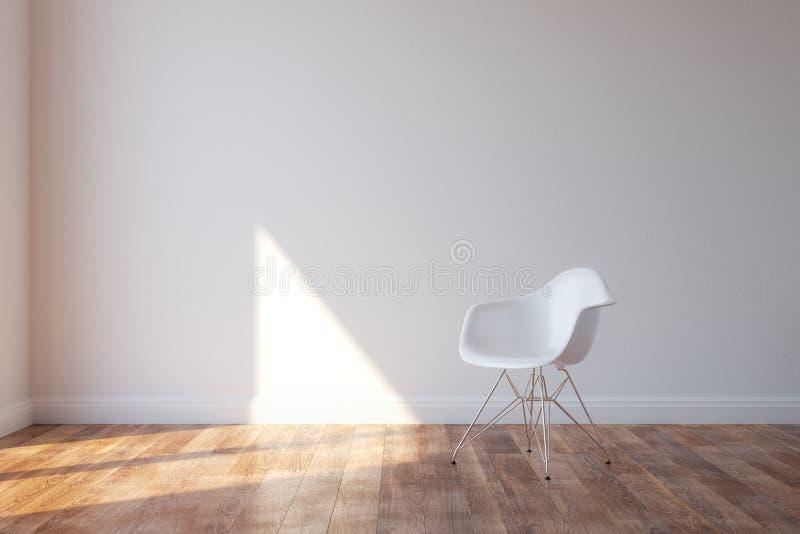 在最低纲领派样式内部的时髦的白色椅子 免版税图库摄影