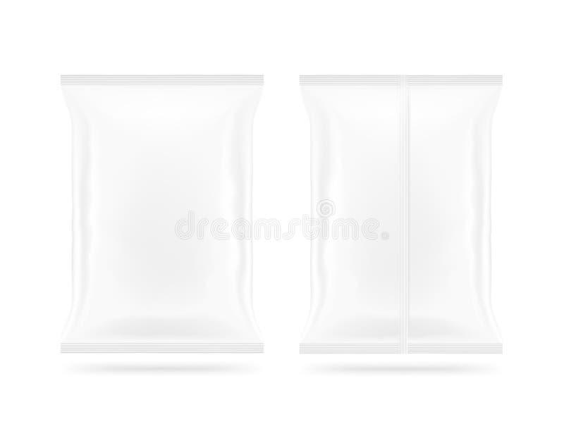 在最前面空白的白色快餐袋子的嘲笑和被隔绝的后部 clea 免版税库存照片