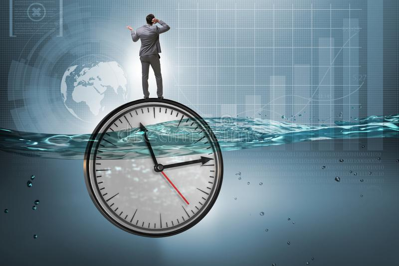 在最后期限和时间管理概念的商人 库存例证
