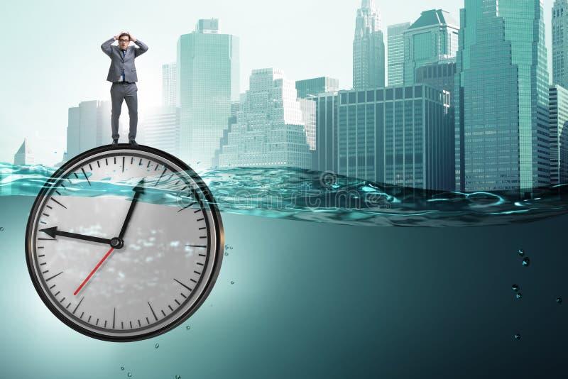 在最后期限和时间管理概念的商人 向量例证