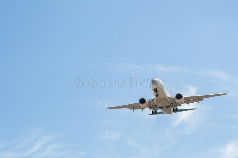 在最后渐近的航空器 免版税图库摄影