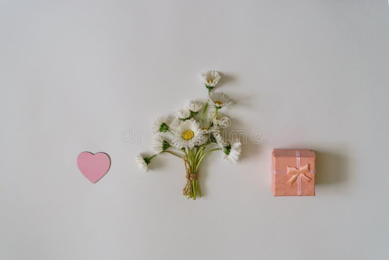 在最小的样式的夏天创造性的构成 白色延命菊d 免版税图库摄影