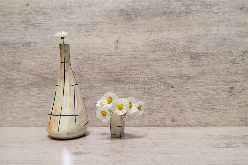 在最小的样式的夏天创造性的静物画 白色延命菊da 免版税库存照片