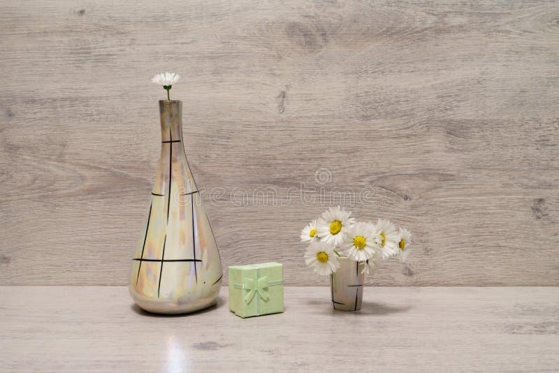 在最小的样式的夏天创造性的静物画 白色延命菊da 库存照片